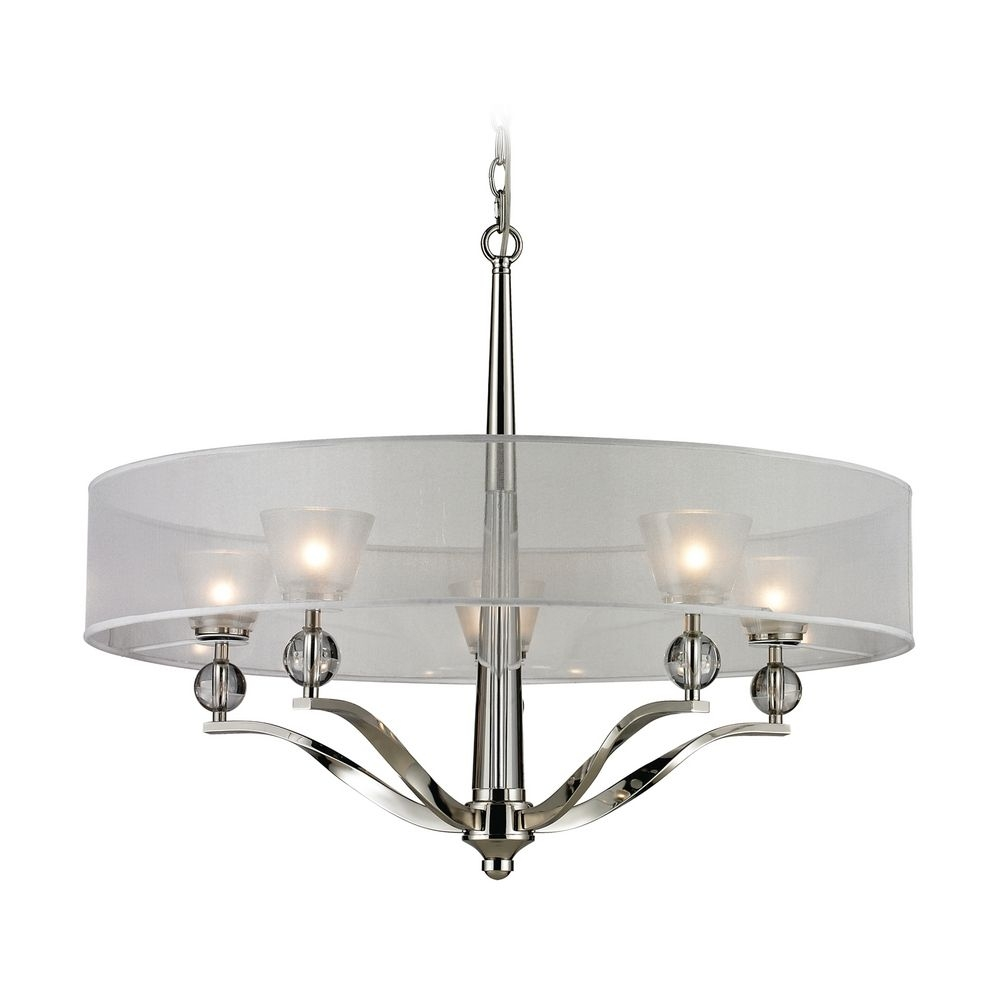 Crystal Polished Nickel Chandeliers Destination Lighting Pertaining To Modern Silver Chandelier (Image 9 of 15)
