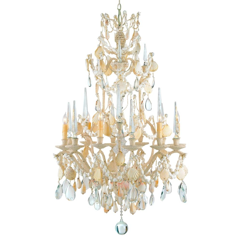Crystal Seashell 6 Light Baroque 2 Tier Chandelier Kathy Kuo Home Inside Baroque Chandelier (Image 8 of 15)