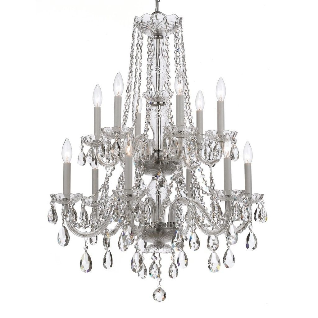 Crystorama Traditional Crystal Collection 12 Light Polished Chrome Pertaining To Traditional Crystal Chandeliers (Image 5 of 15)
