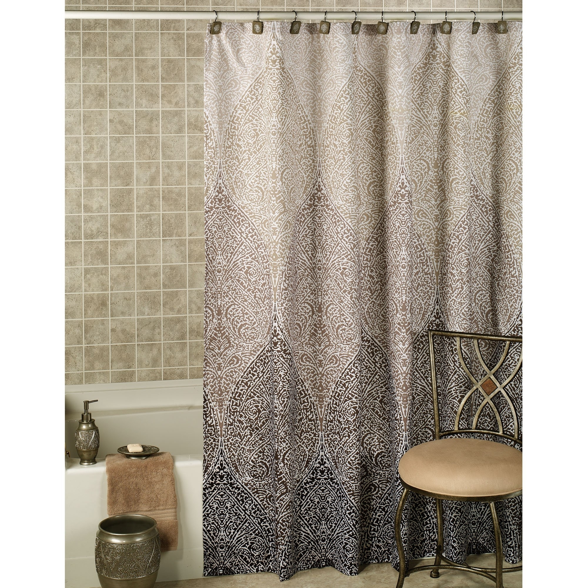 Curtain Aurora Home Velvet Moroccan Print Grommet Top 84 Inch Within Moroccan Print Curtains (Image 6 of 15)