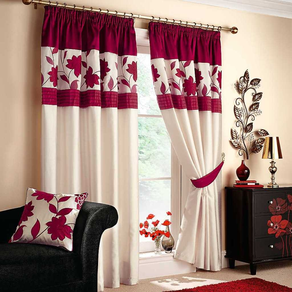 Curtain Decorating Ideas Inspiration Bay Window Rod Extra Long Red Throughout Extra Long Red Curtains (Image 5 of 15)