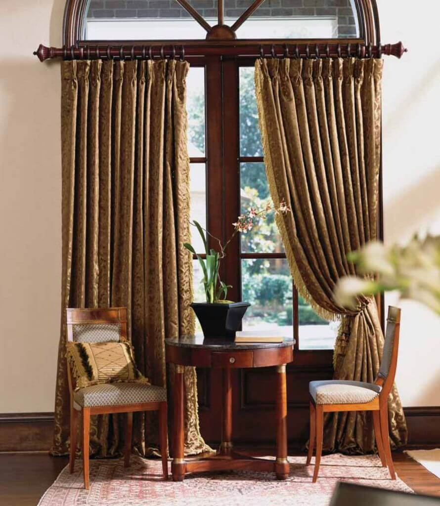 Curtain Interesting Wood Curtain Rod Curtain Rods Home Depot Within Dark Brown Velvet Curtains (Image 4 of 15)