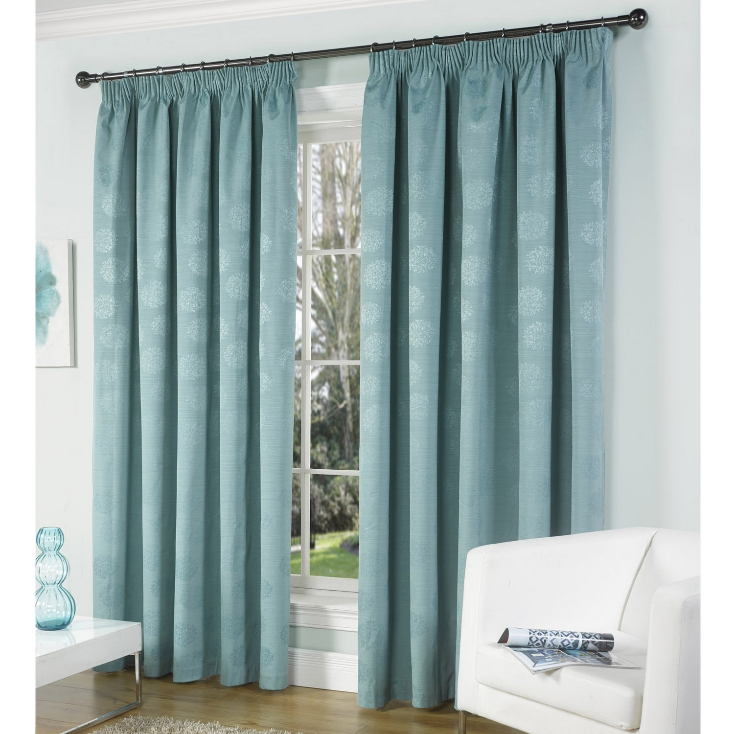 Curtain Stunning Patterned Blackout Curtains Curtain Panels In Duck Egg Blue Blackout Curtains (Image 2 of 15)