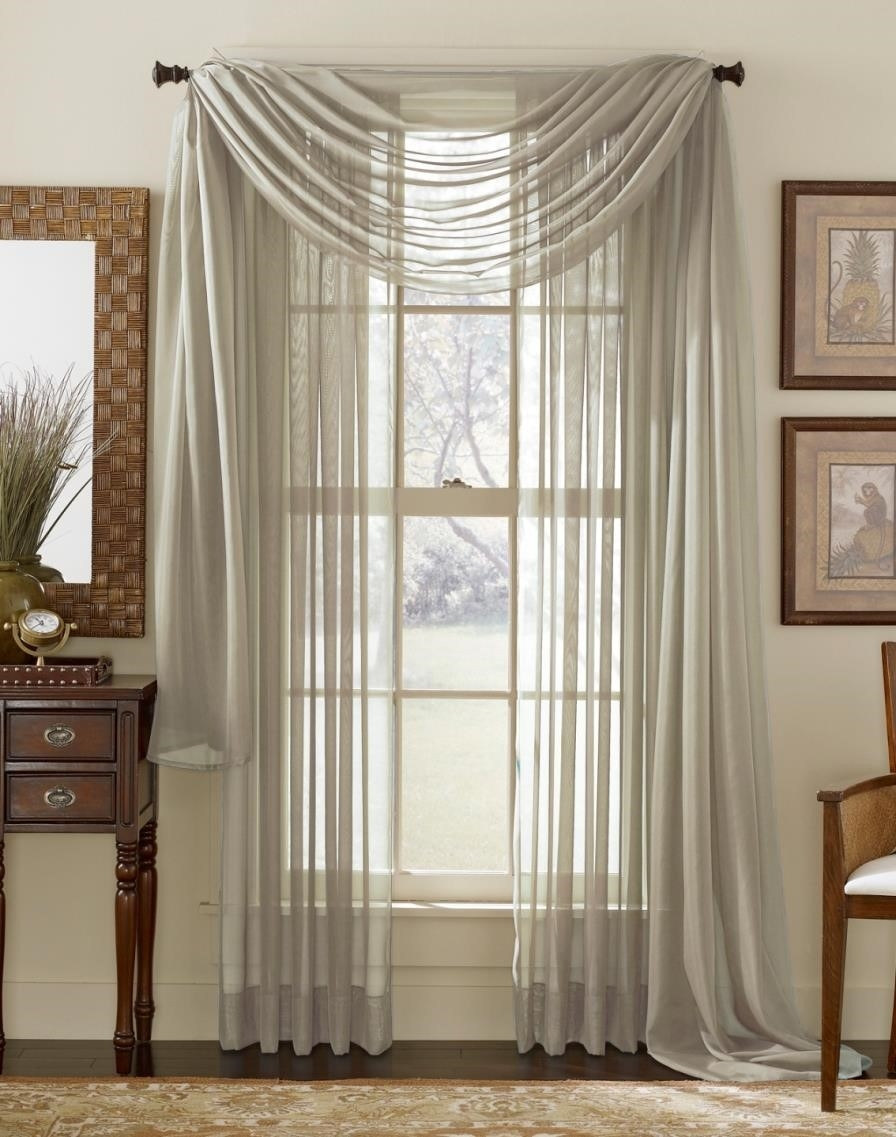 Curtains Grommets Shop Sheer Gold Curtains Stripe Outdoor With For Extra Long Voile Curtains (Image 3 of 15)