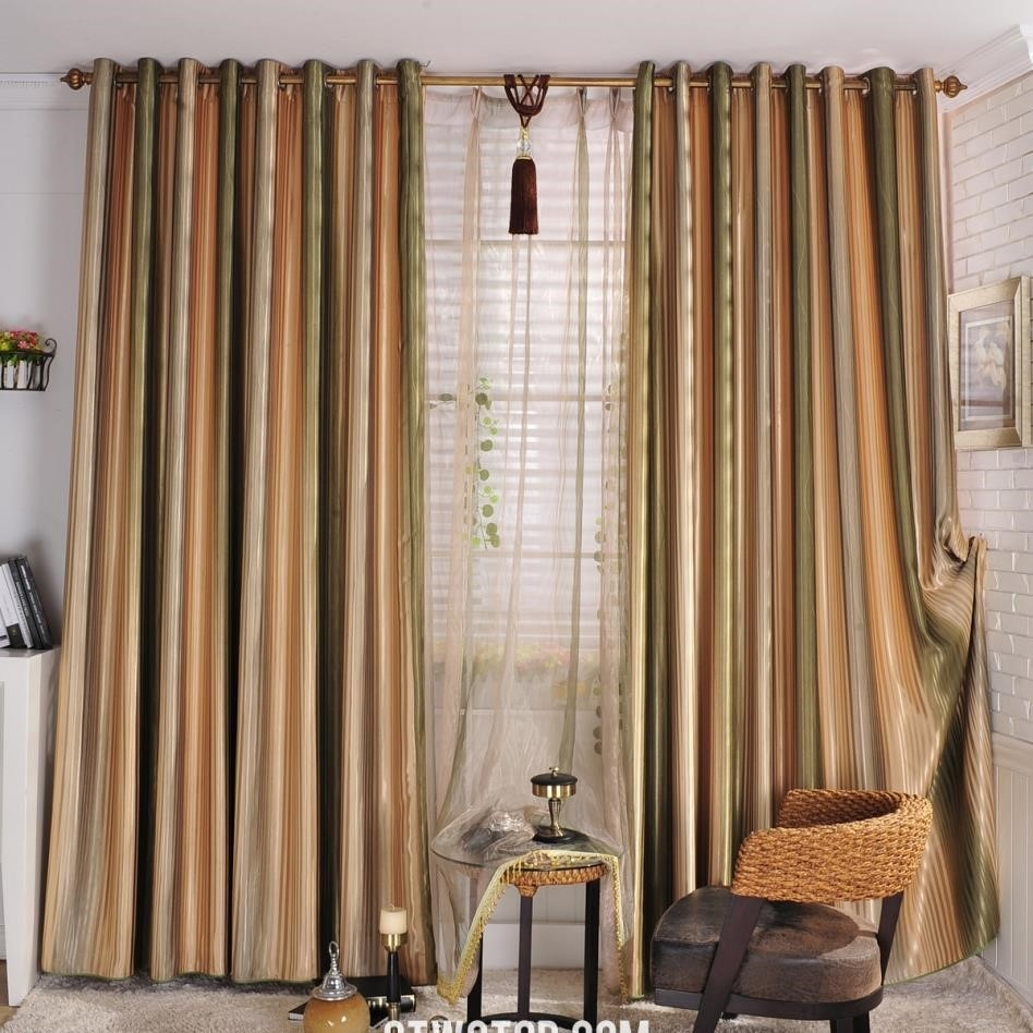 Curtains Striped Curtains Amazing Fabric Modern Window Curtain Within Green And Cream Striped Curtains (Image 8 of 15)
