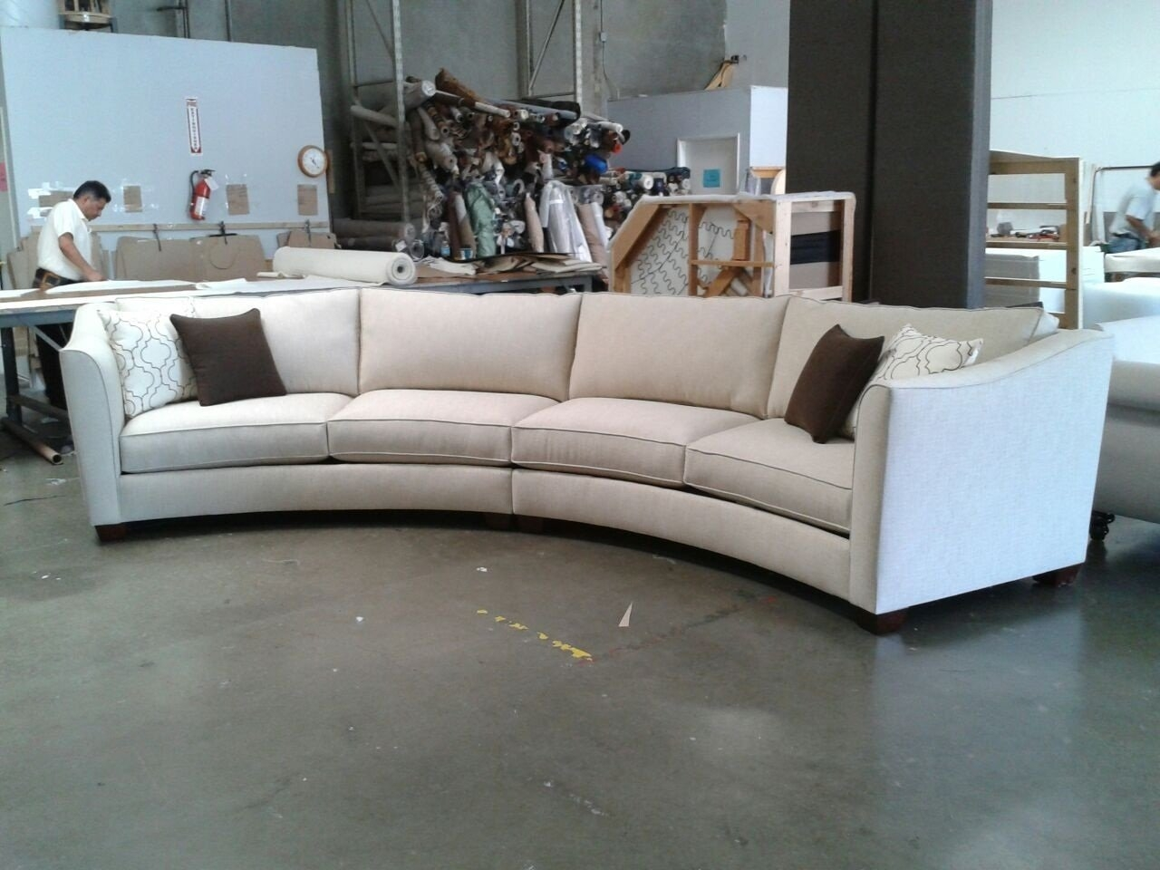Curved Sectional Sofa Set Rich Comfortable Upholstered Fabric Regarding Contemporary Curved Sofas (View 10 of 15)