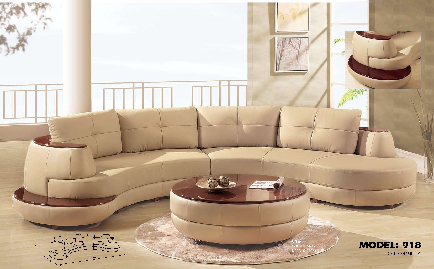 Curved Sectionals Leather Sofas Roselawnlutheran For Circular Sectional Sofa (Image 5 of 15)
