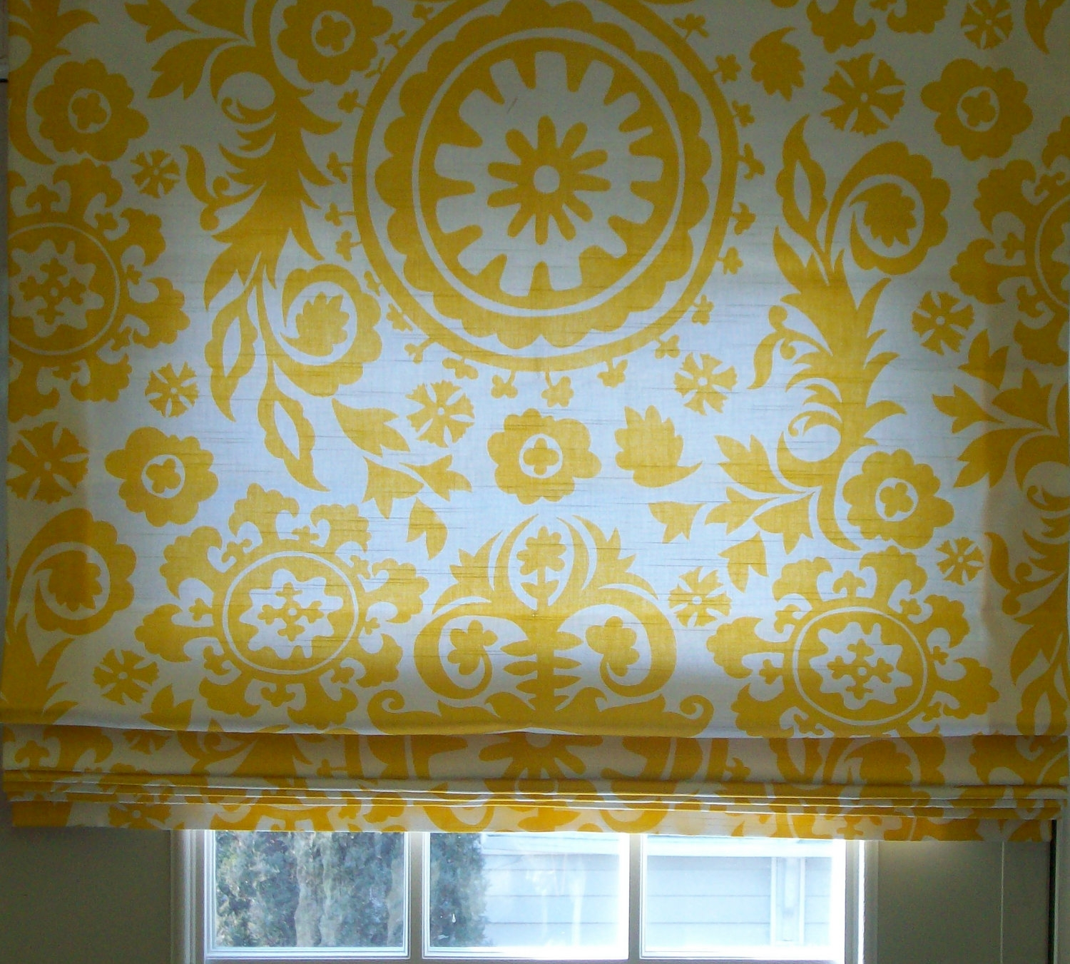 Custom Order Flat Roman Shade Yellowwhite Suzanni Pertaining To Yellow Roman Blinds (Image 8 of 15)