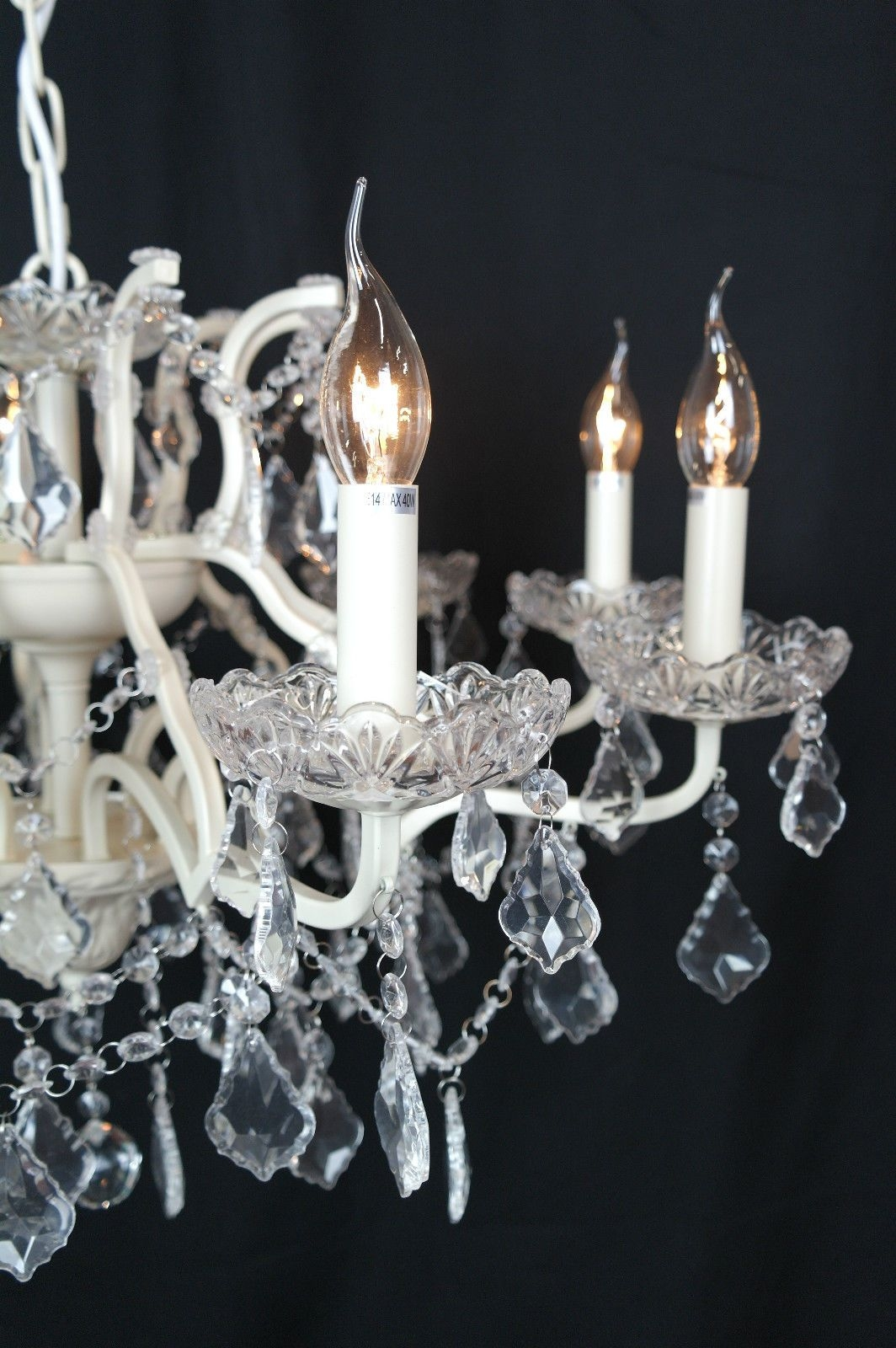Cut Glass French Chandelier Shallow 8 Arm Cream Regarding French Glass Chandelier (Image 6 of 15)