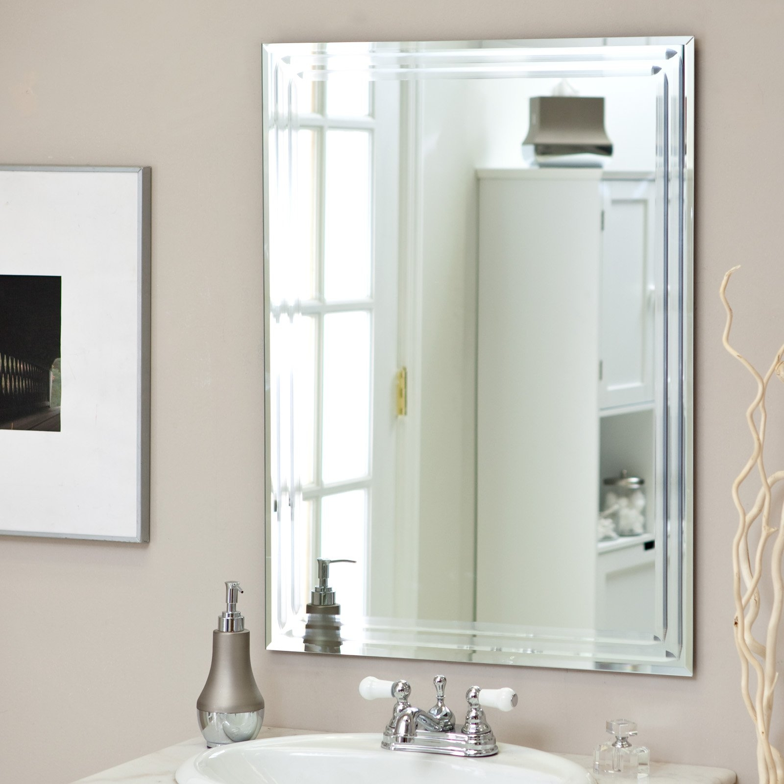 D233cor Wonderland Frameless Tri Bevel Wall Mirror 235w X Intended For Bevelled Bathroom Mirror (Image 4 of 15)