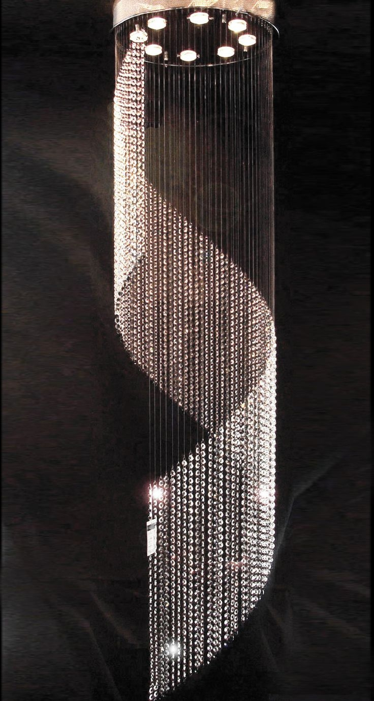 D500mm Krystall Lysekrone Lampen Long Crystal Lamp Crystal Light Intended For Long Chandelier Light (Image 9 of 15)