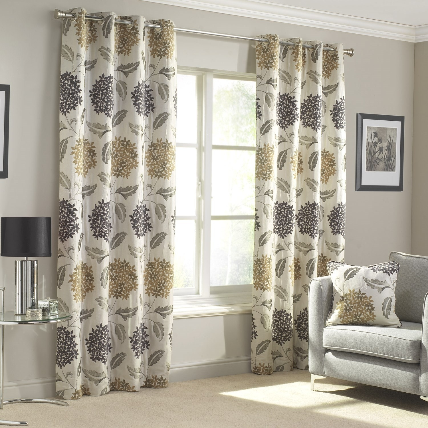 Dahlia Gold Charcoal Lined Eyelet Curtains Pair Julian Charles Inside Cream And Gold Eyelet Curtains (Image 9 of 15)