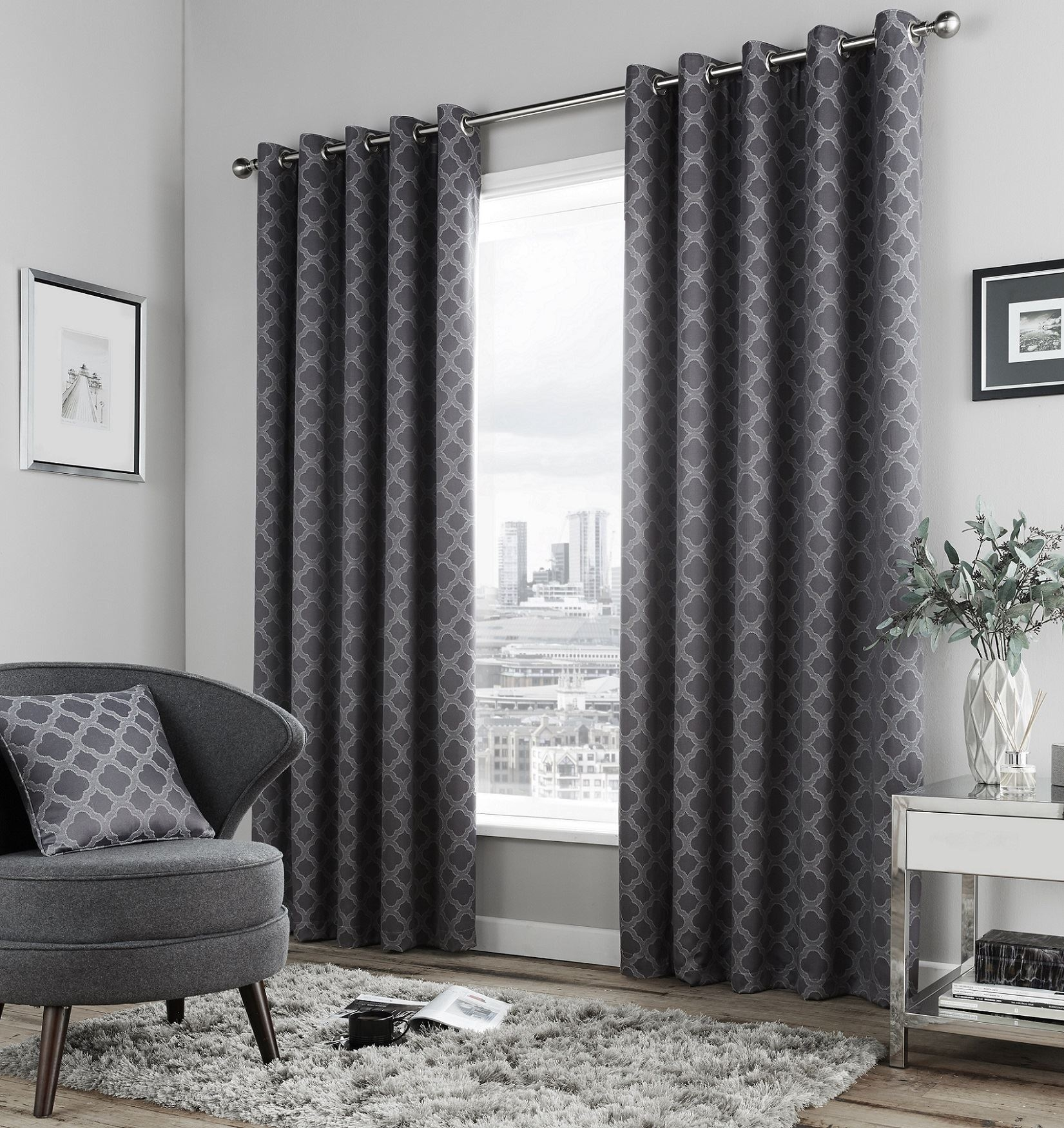 Dale Lined Eyelet Curtains Geometric Moroccan Pattern Ready Made In Moroccan Pattern Curtains (Image 9 of 15)