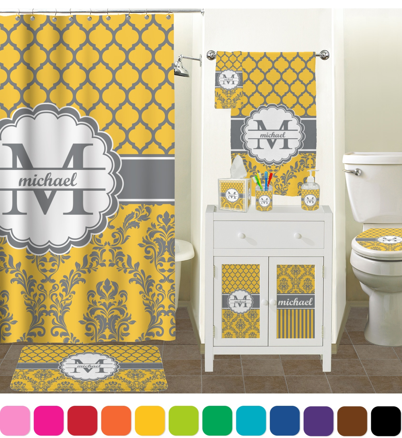 Damask Moroccan Shower Curtain Personalized Potty Training Throughout Moroccan Print Curtains (Image 7 of 15)