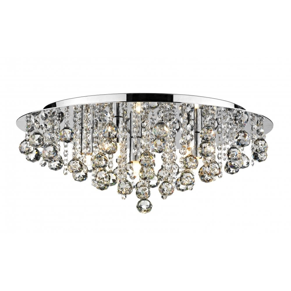 Dar Lighting Pluto Plu5450 Polished Chrome Flush 5 Light Ceiling Regarding Flush Fitting Chandeliers (Image 7 of 15)