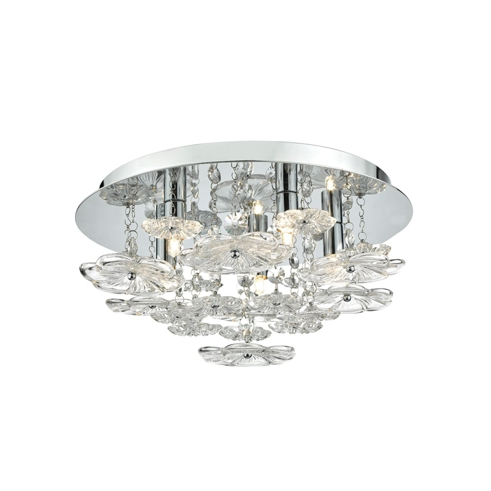 Dar Lighting Rochelle 5 Light Flush Ceiling Fitting In Polished With Flush Fitting Chandeliers (Image 8 of 15)