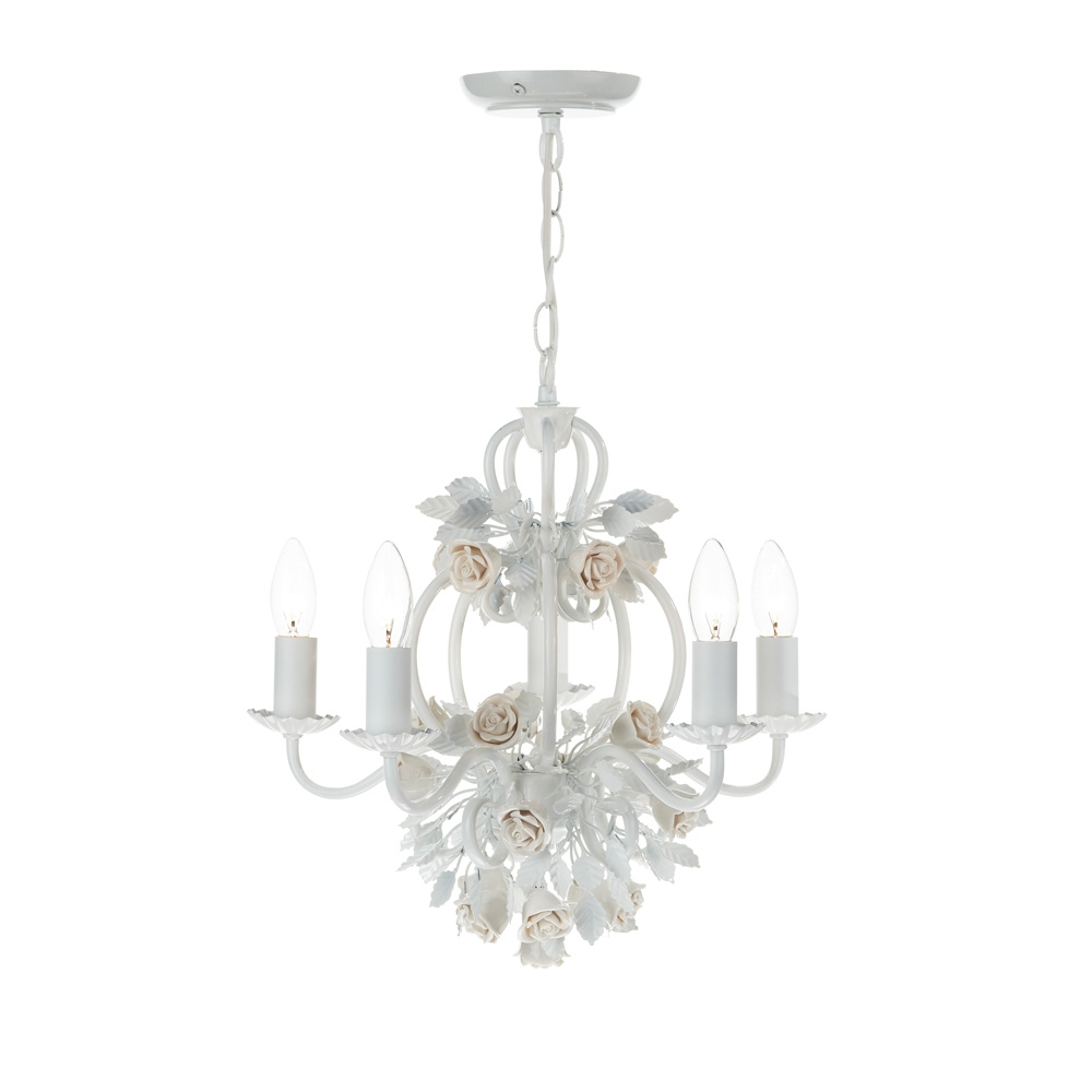 Dar Sas052 Saskia 5 Light Semi Flush Ceiling Light Intended For Flush Fitting Chandeliers (Image 9 of 15)