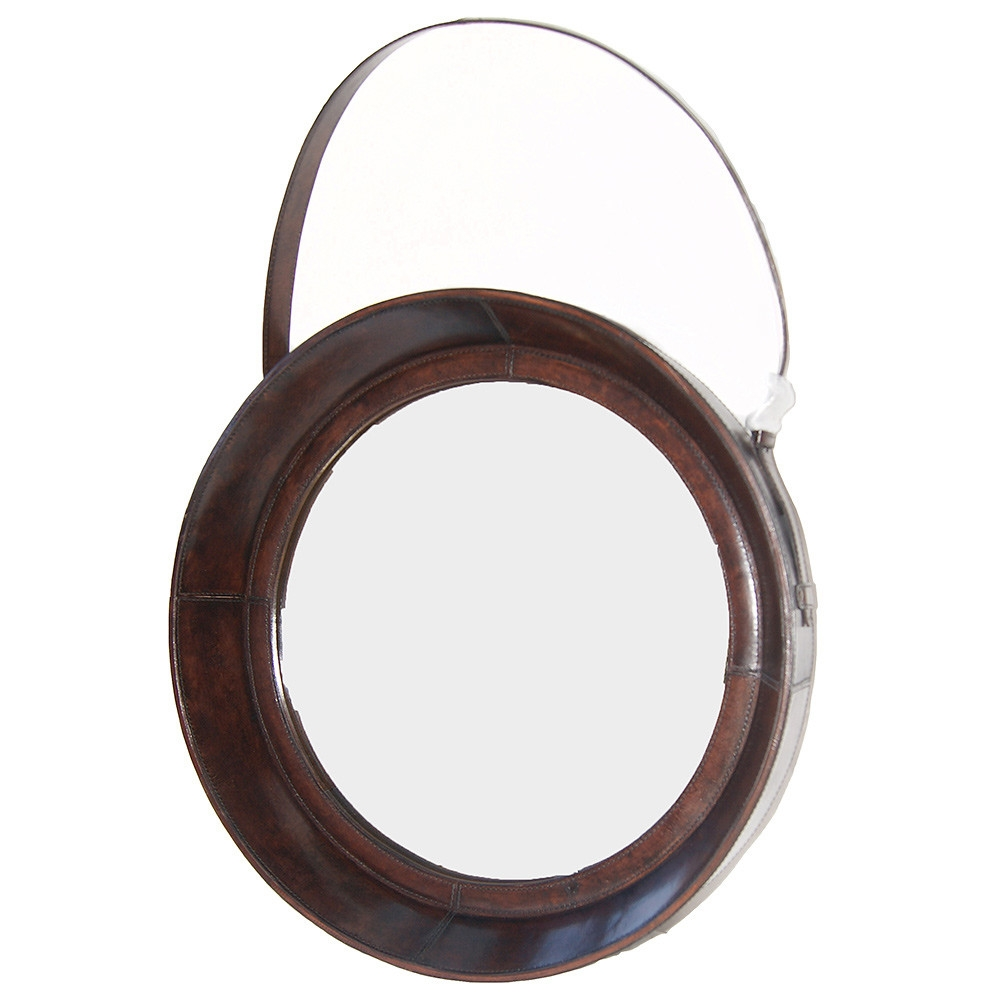 Dark Leather Round Mirror Temple Webster With Regard To Leather Round Mirror (Image 3 of 15)