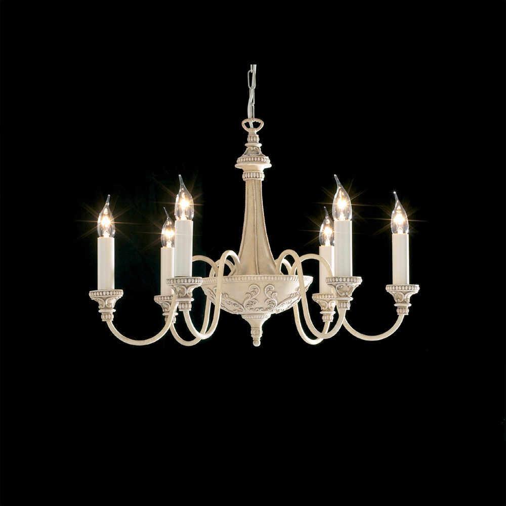 David Hunt Bai0645 Bailey 6 Light Antique Cream Chandelier Inside Cream Chandeliers (Image 8 of 15)