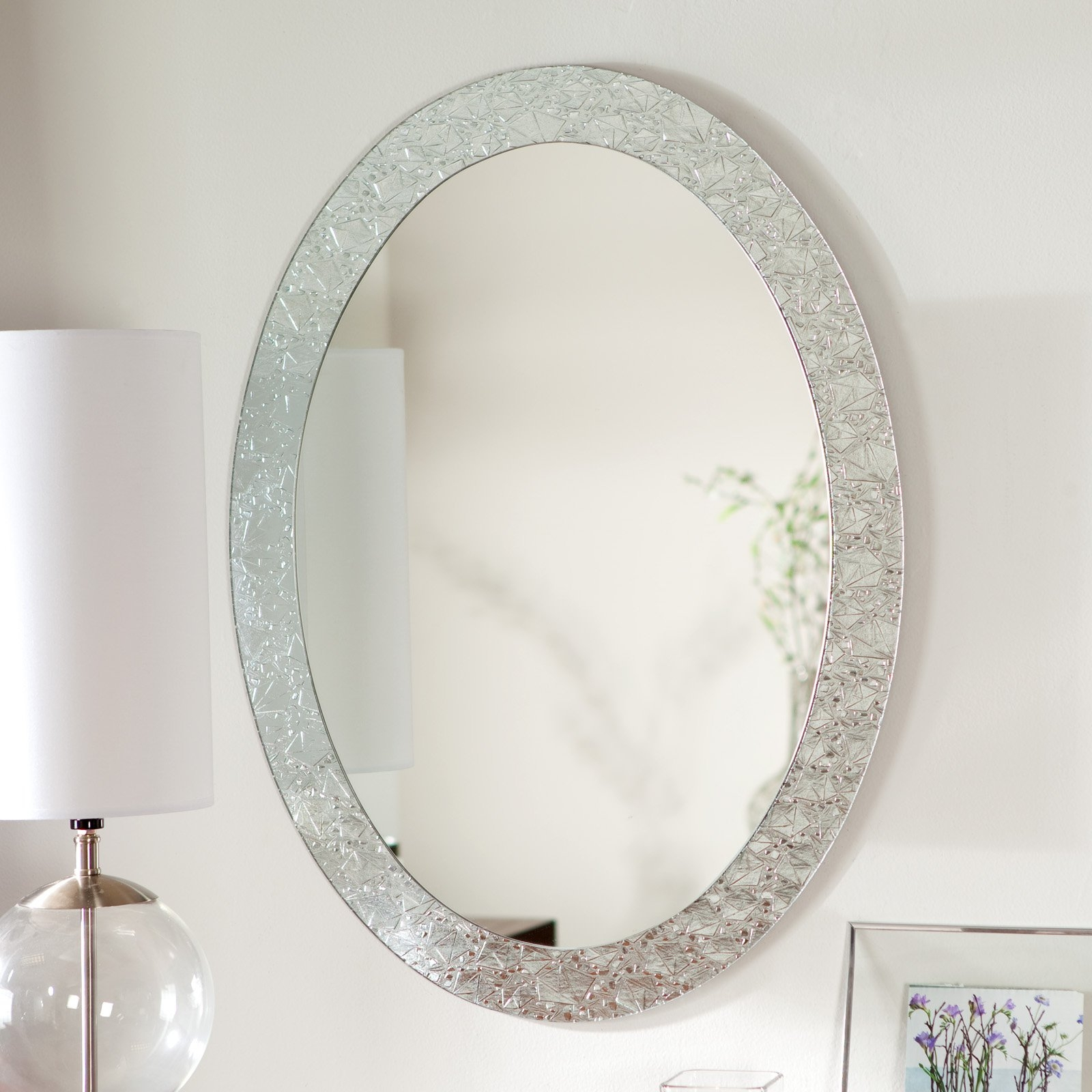 Dcor Wonderland Frameless Crystal Wall Mirror 235w X 315h In For Wall Mirror With Crystals (Image 8 of 15)