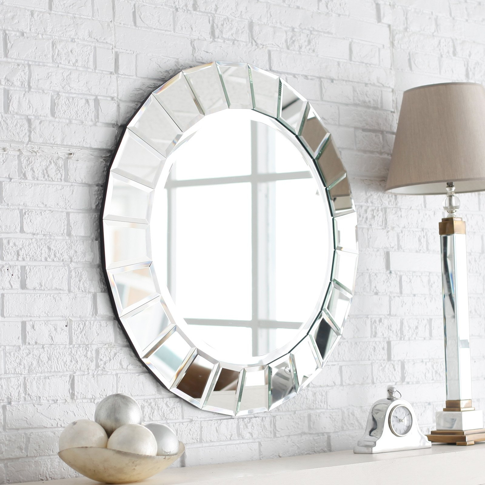 Dcor Wonderland Frameless Crystal Wall Mirror 235w X 315h In In Round Venetian Mirror (Image 3 of 15)