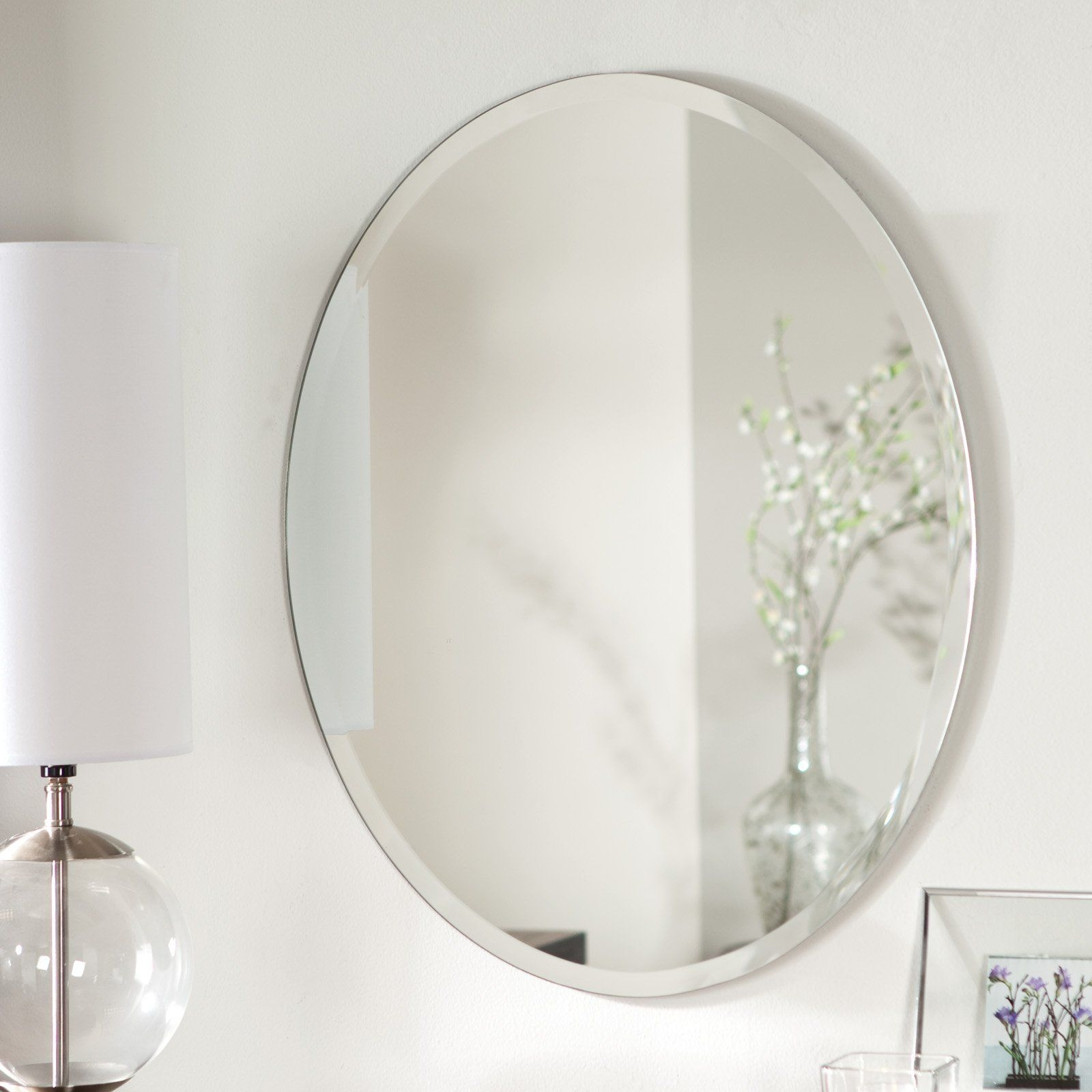 Dcor Wonderland Odelia Oval Bevel Frameless Wall Mirror 22w X For Bevelled Bathroom Mirror (Image 5 of 15)