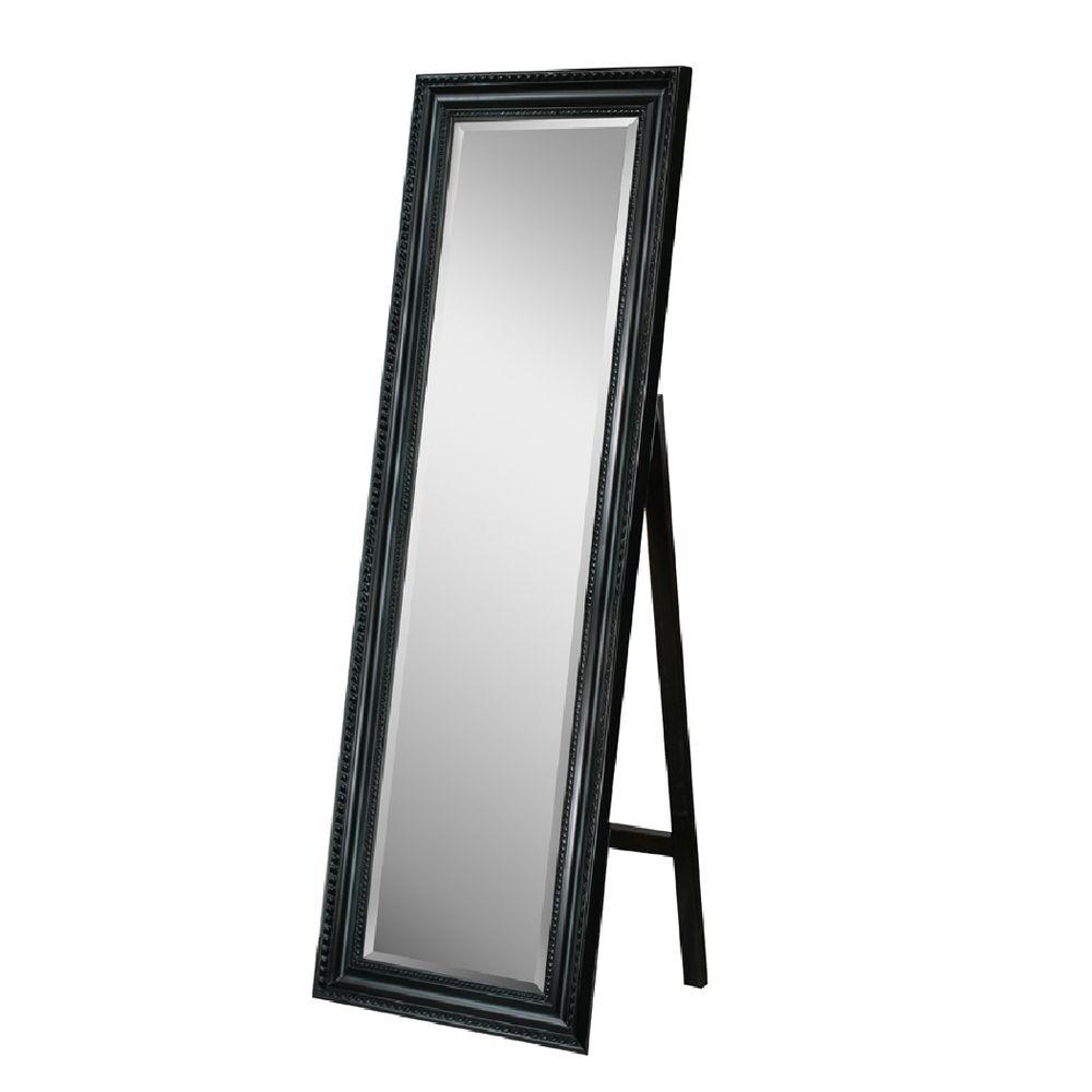 Deco Mirror 18 In X 64 In Carousel Floor Mirror In Black 8806 With Regard To Black Free Standing Mirror (Image 8 of 15)