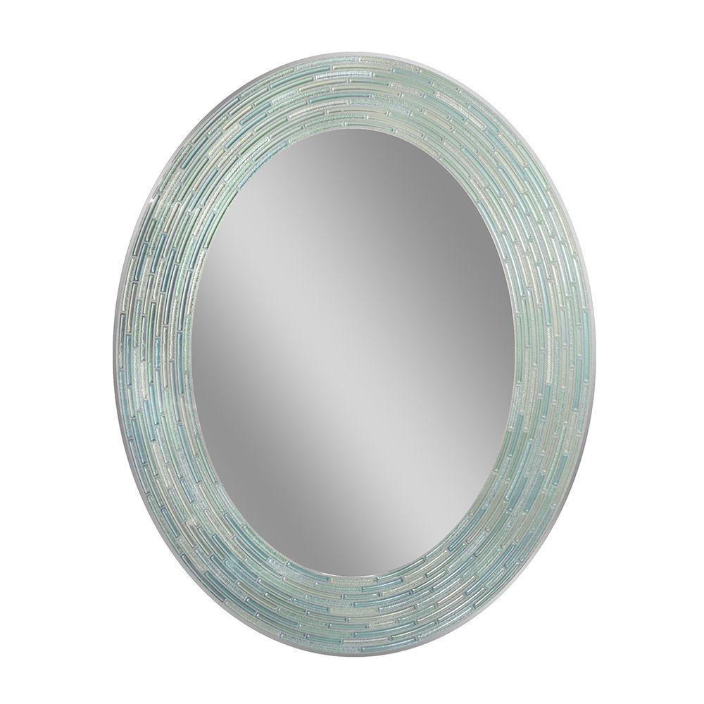 Deco Mirror 29 In L X 23 In W Reeded Sea Glass Oval Wall Mirror With Oval Wall Mirrors (Image 3 of 15)