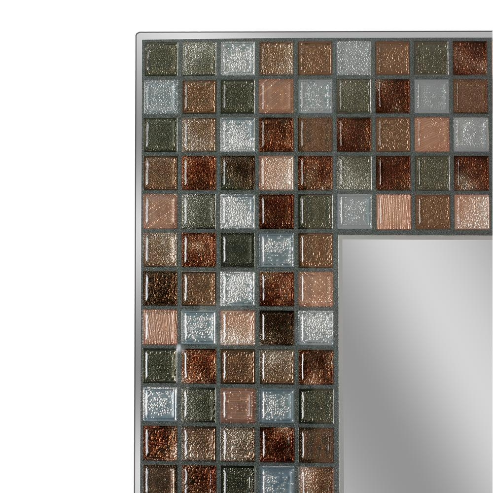 Deco Mirror 30 In L X 24 In W Earthtone Copper Bronze Mosaic Pertaining To Bronze Mosaic Mirror (Image 7 of 15)