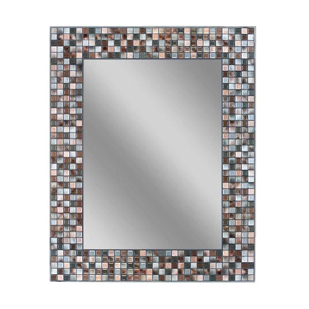Deco Mirror 30 In L X 24 In W Earthtone Copper Bronze Mosaic Regarding Mosaic Wall Mirrors (Image 4 of 15)