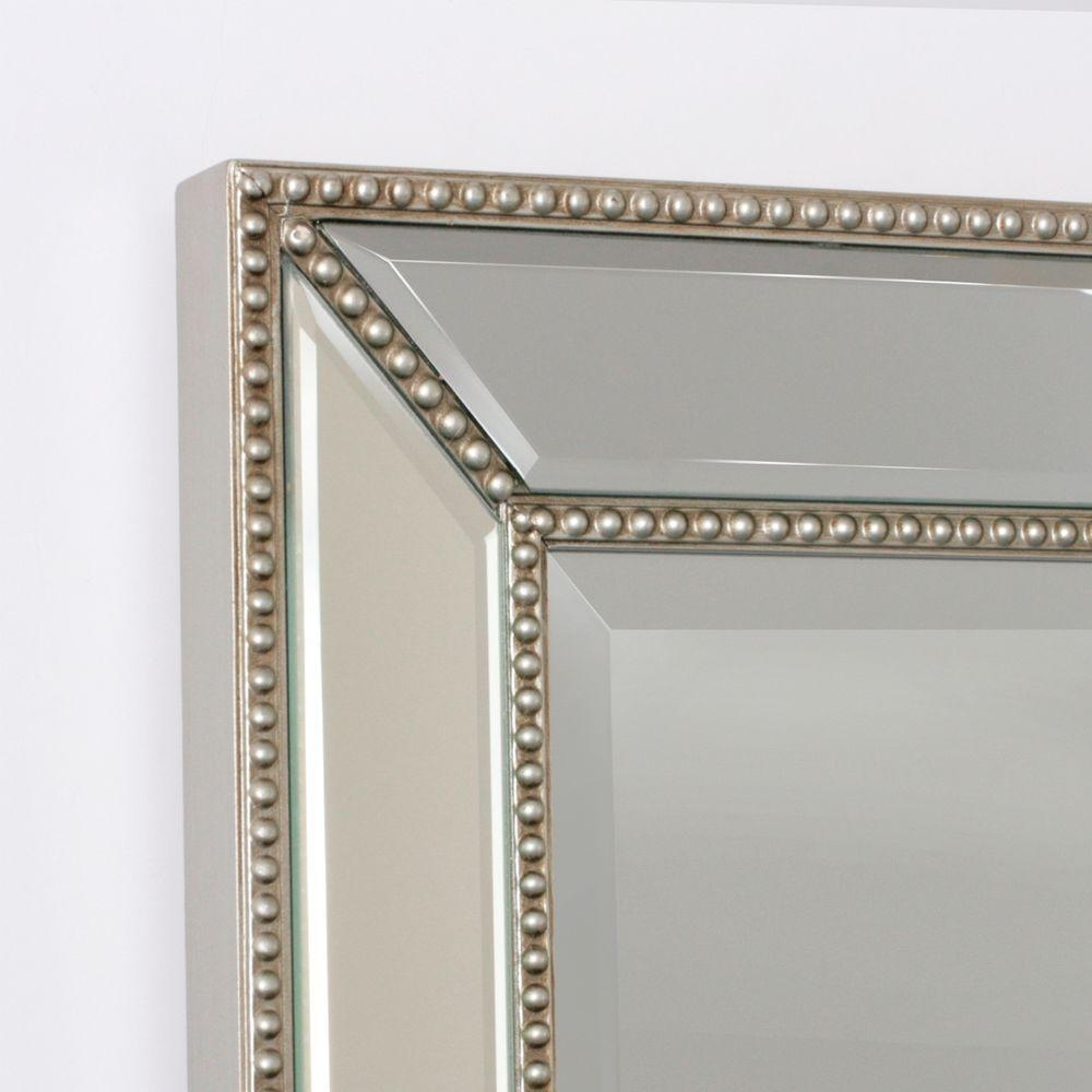 Deco Mirror 32 In L X 20 In W Metro Beaded Mirror In Silver 1204 For Venetian Beaded Mirrors (Image 4 of 15)