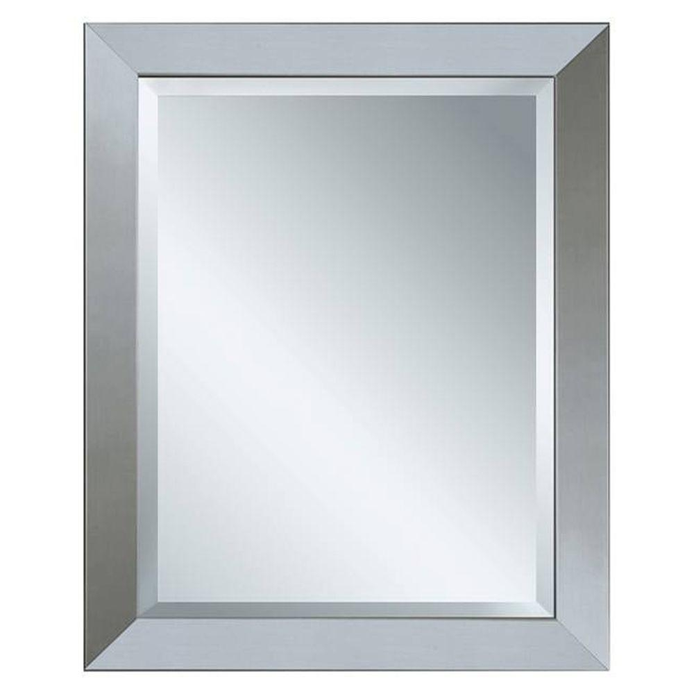 Deco Mirror 44 In X 34 In Modern Wall Mirror In Brushed Nickel Inside Deco Bathroom Mirror (Image 11 of 15)