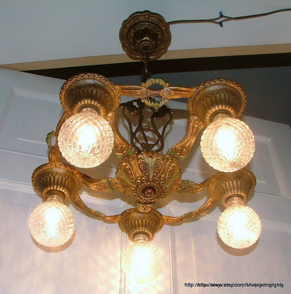 Deco Vintage Chandelier Antique Hammered Brass Finish Rewired Within Cast Iron Antique Chandelier (Image 12 of 15)