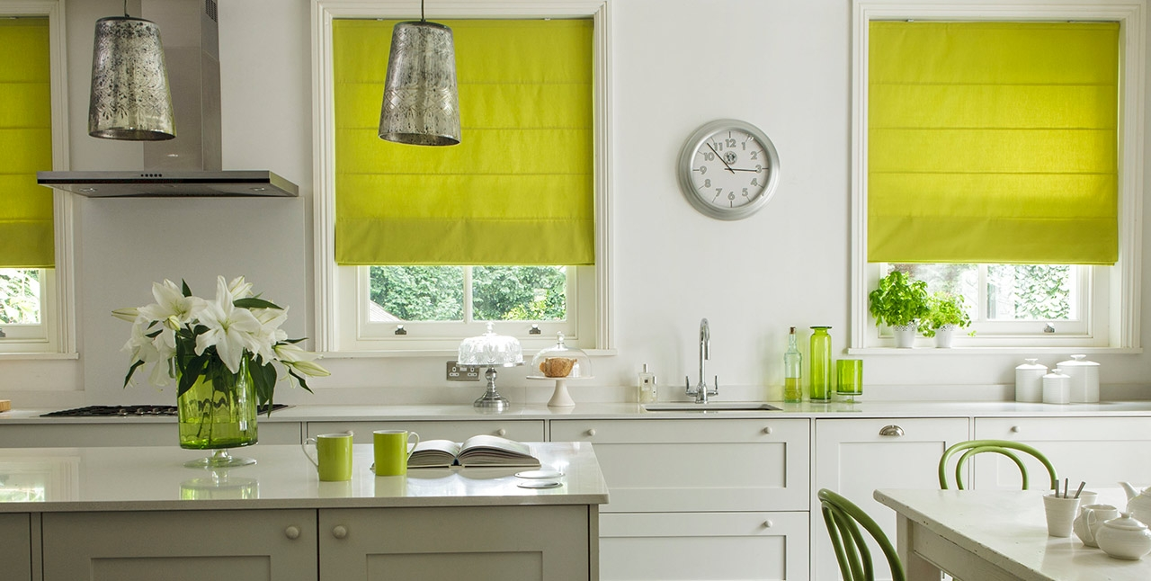 Decora Products Roman Blinds And Curtains Intended For Green Roman Blinds (Image 9 of 15)