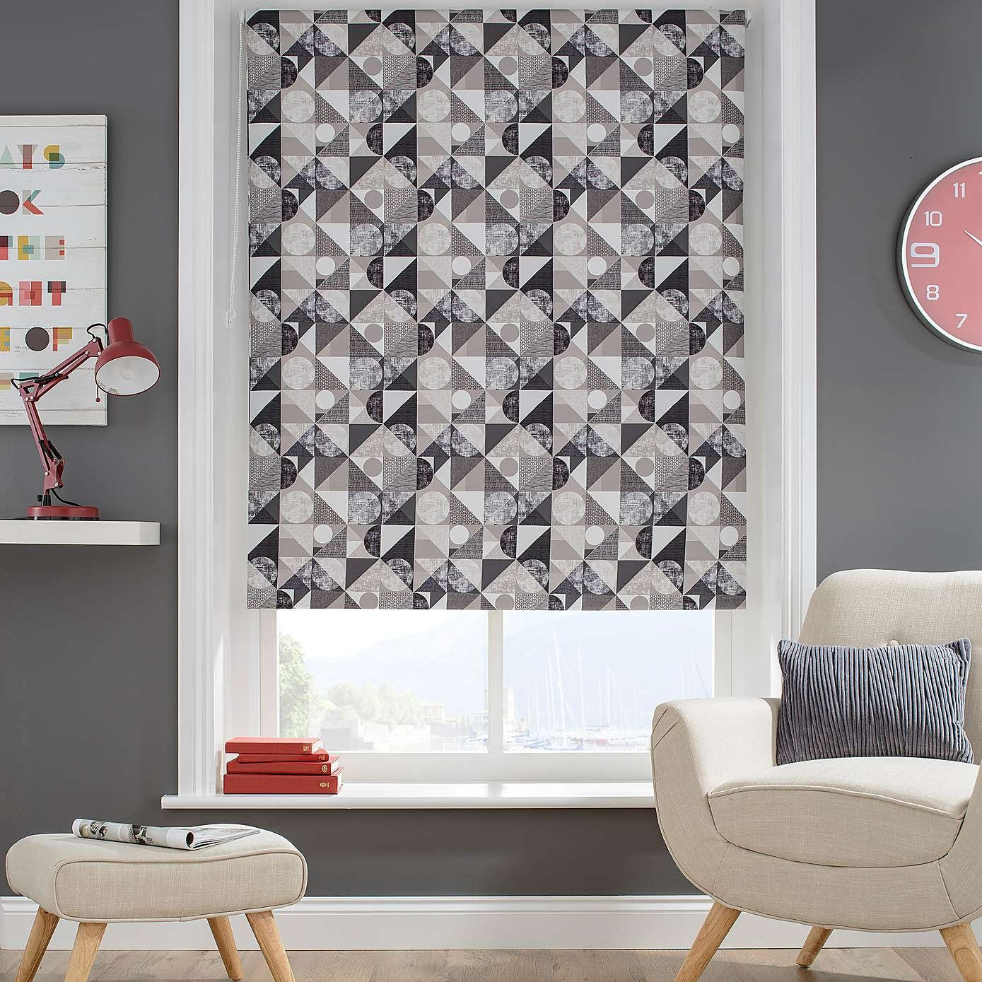 Decorated With A Modern Pattern Made Up Of Grey Circles And With Regard To Pattern Blinds (Image 3 of 15)