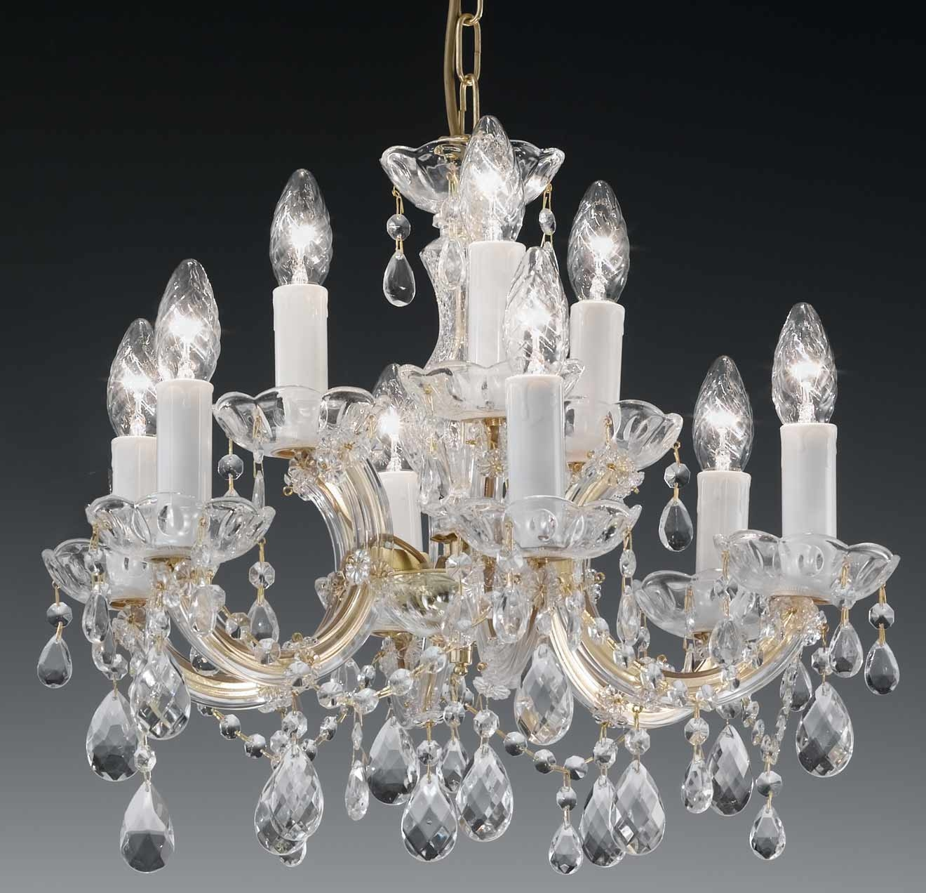 Decorating Ideas Cool Picture Of Luxury Round White Crystal Glass With Chandelier Accessories (Image 11 of 15)