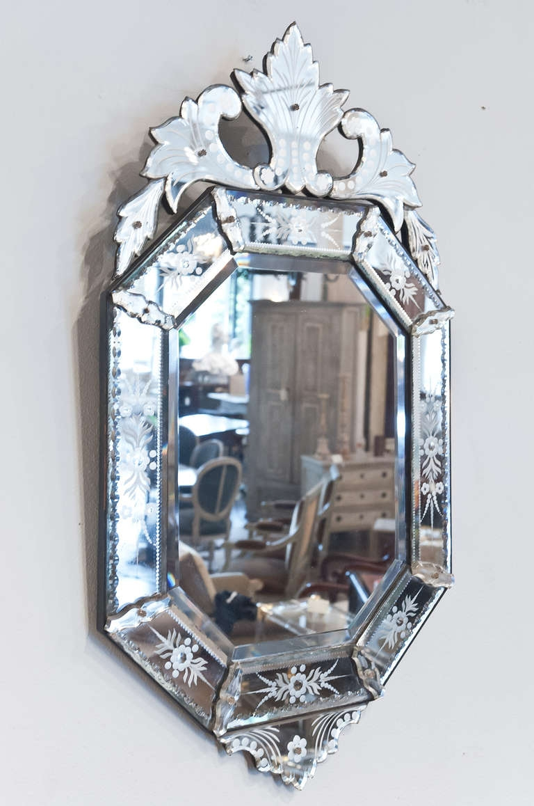 Decorating Ideas Stunning Image Of Vintage Etched Glass Antique Regarding Antique Venetian Mirror (Image 9 of 15)
