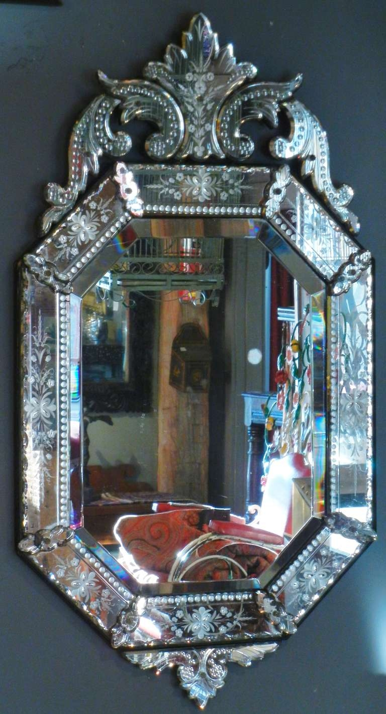 Decorating Ideas Stunning Image Of Vintage Etched Glass Antique With Regard To Venetian Mirror Sale (Image 4 of 15)