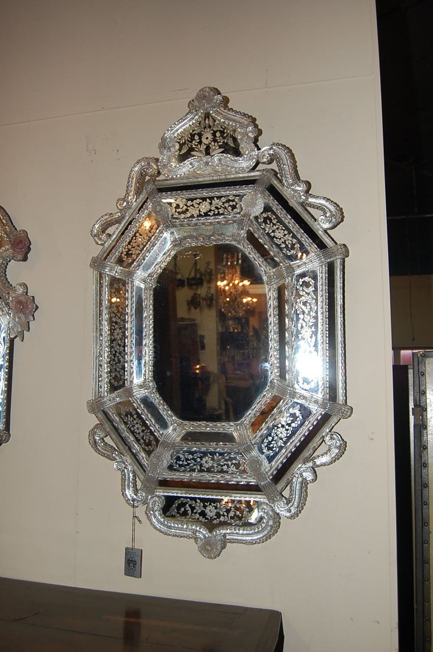 Decorating Ideas Stunning Image Of Vintage Etched Glass Antique Within Antique Venetian Mirror (Image 10 of 15)