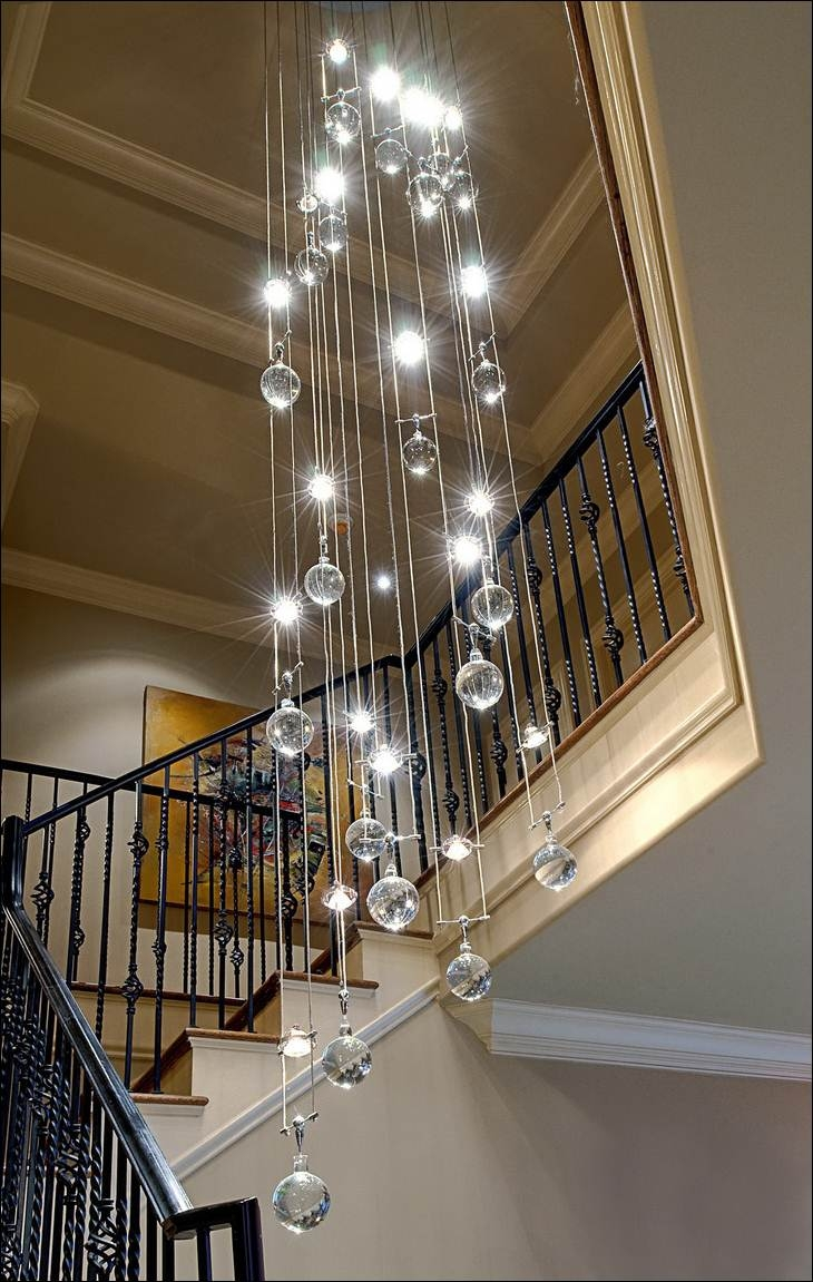 Decoration Contemporary Crystal Chandelier Decorating Area Around In Stairway Chandeliers (Image 7 of 15)