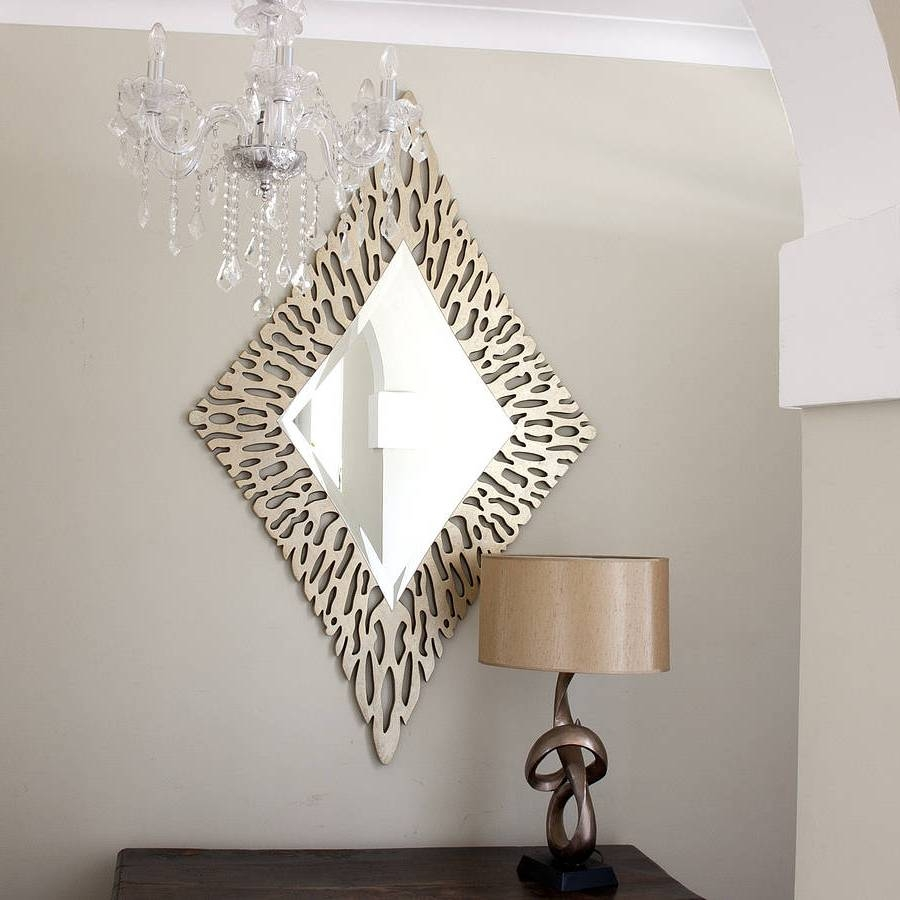 Decoration Luxurious Gold Diamond Shaped Mirror Stunning Gold Throughout Unusual Mirrors (Image 4 of 15)