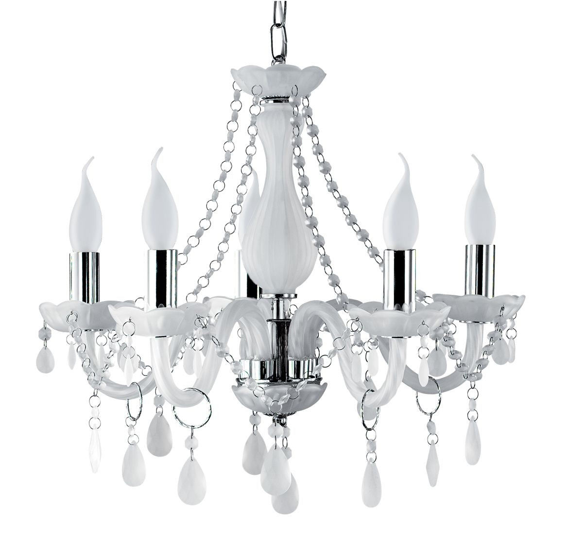 Decorative Chandeliers For Bedroom With White And Crystal For White Chandeliers (Image 9 of 15)