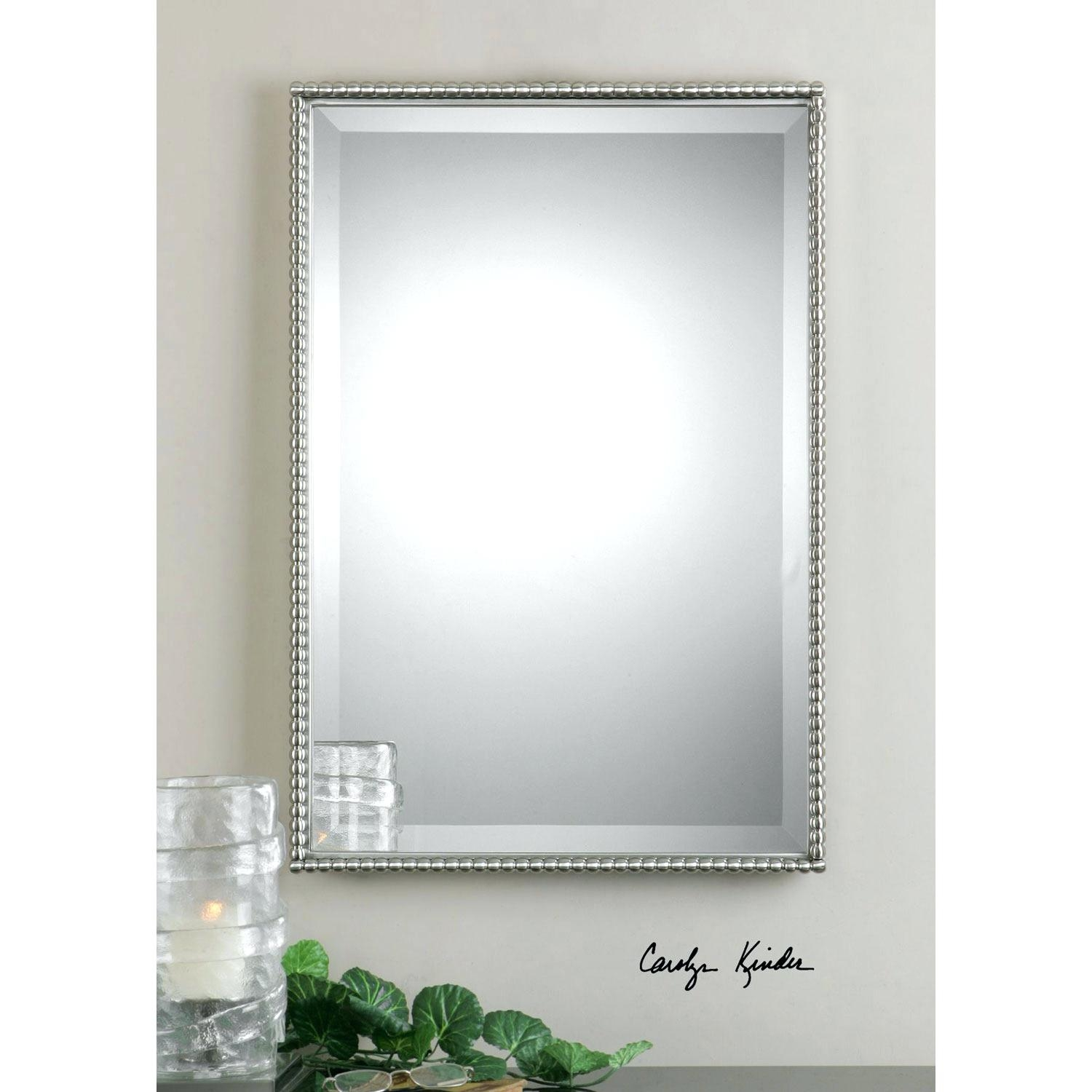 Decorative Mirror Tiles Brushed Nickel Sherise Rectangle Wall With Regard To Very Large Round Mirror (Photo 8 of 15)