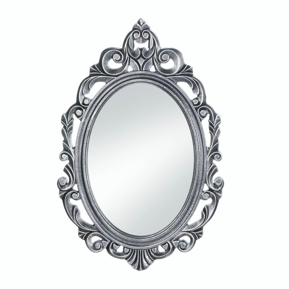 Decorative Mirrors For Walls Rustic Contemporary Silver Royal With Regard To Black Oval Wall Mirror (Image 4 of 15)