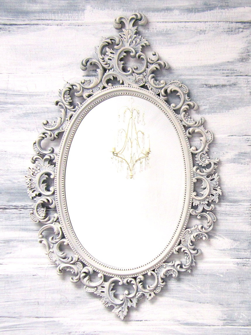 Decorative Vintage Mirrors For Sale French Country Oval Shab Pertaining To Oval Shabby Chic Mirror (Image 6 of 15)