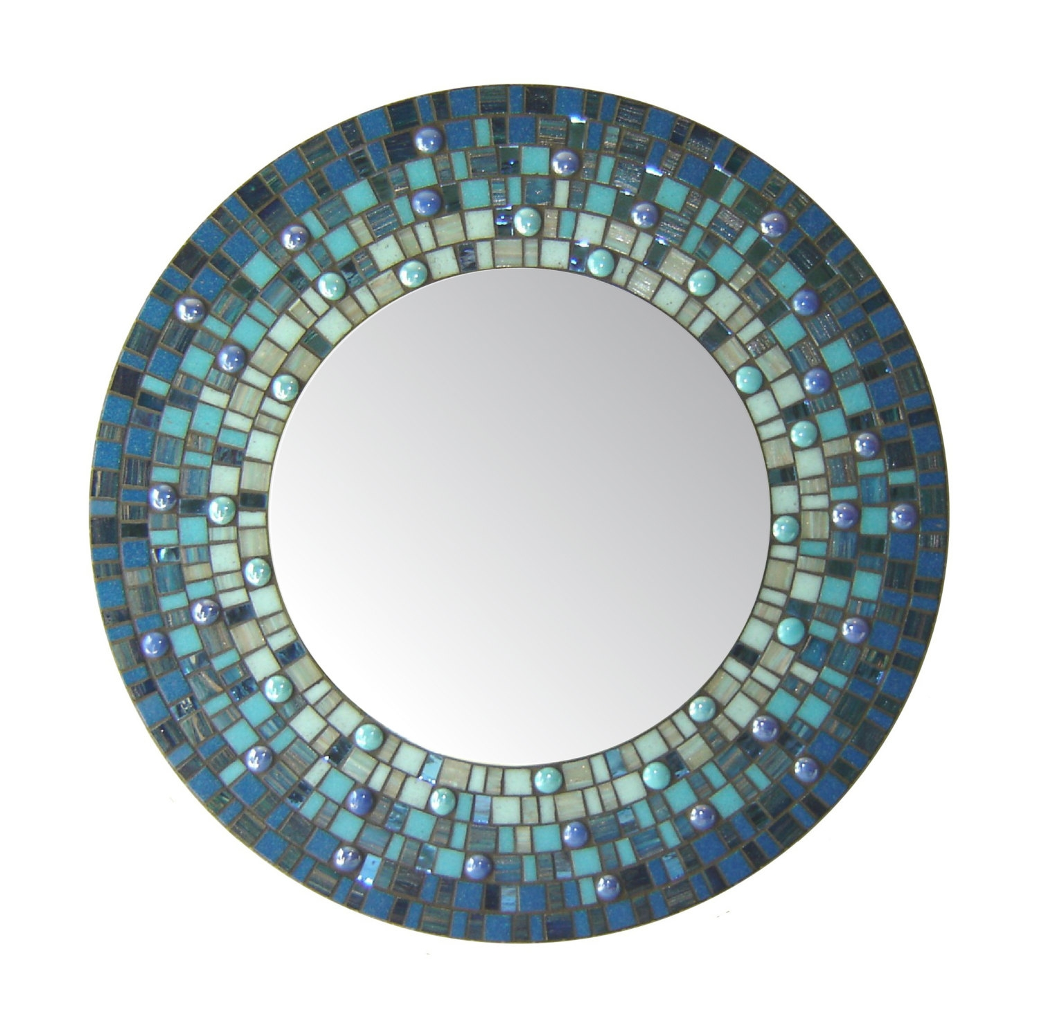 Deep Blue Round Mosaic Mirror With Large Mosaic Mirrors (Image 4 of 15)