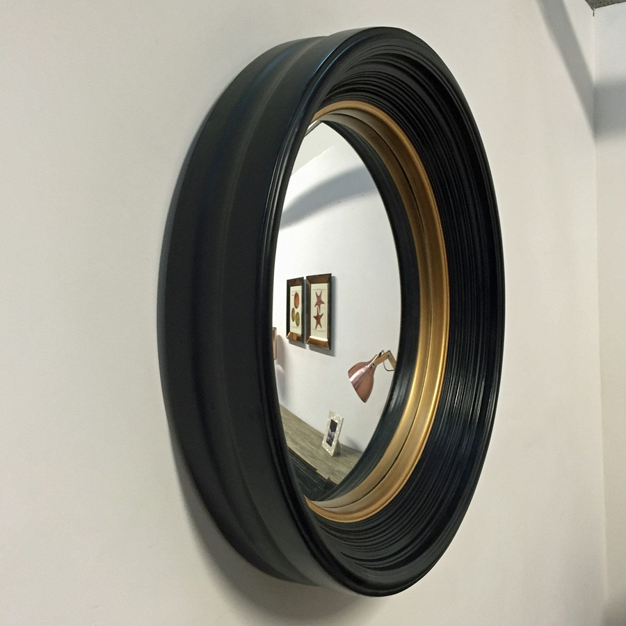 Deep Round Black Gold Convex Mirror Black Gold Large Black Intended For Large Black Round Mirror (Image 4 of 15)