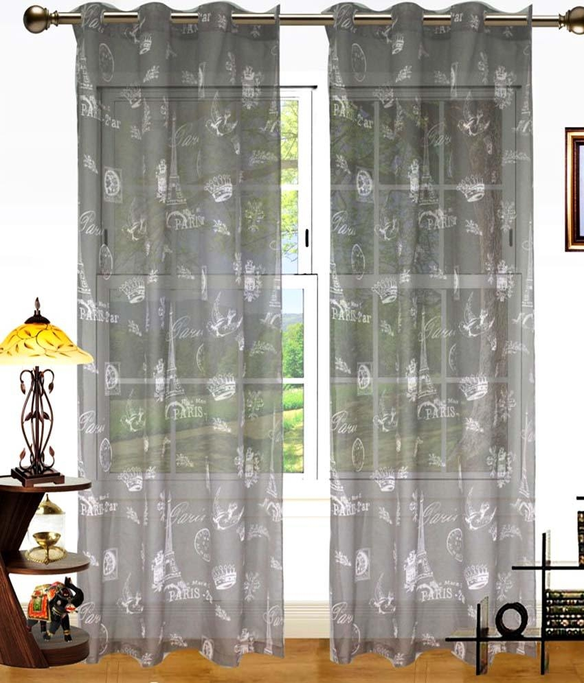 Dekor World Set Of 2 Door Sheer Eyelet Curtains Printed Buy Regarding Sheer Eyelet Curtains (Image 1 of 15)