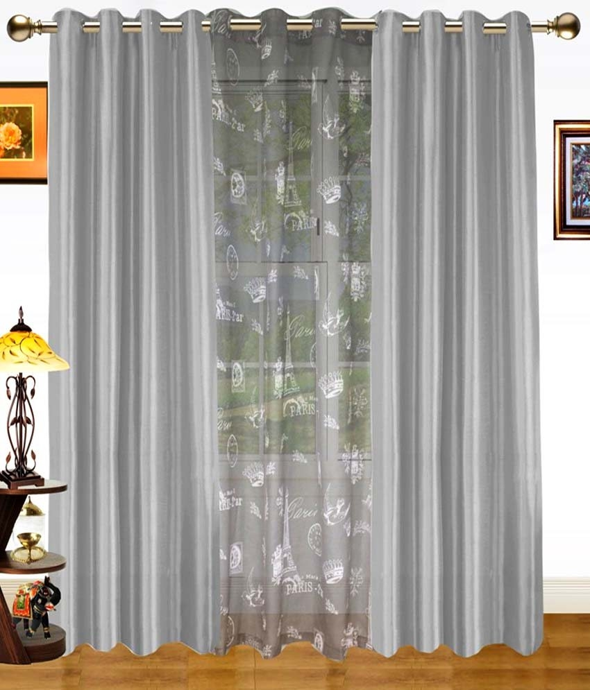 Dekor World Set Of 3 Door Sheer Eyelet Curtains Printed Buy Throughout Sheer Eyelet Curtains (Image 2 of 15)