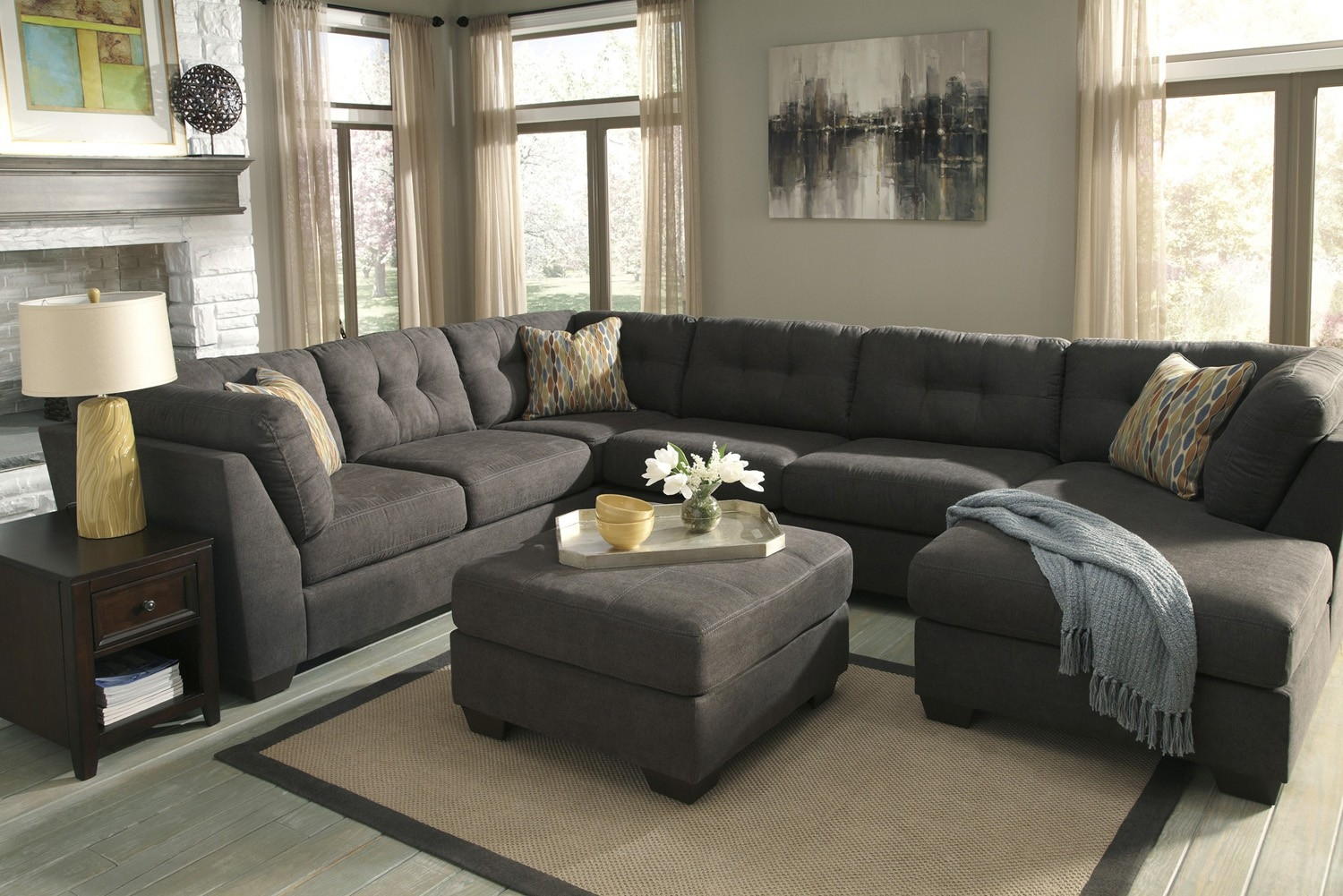 Delta City Steel 3 Piece Sectional Sofa With Left Arm Facing Throughout 3 Piece Sectional Sleeper Sofa (Image 9 of 15)